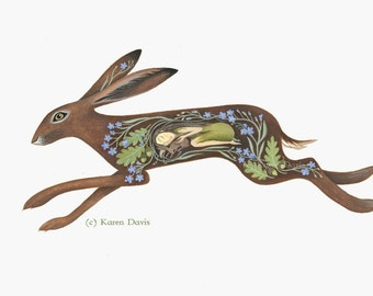 The spirit within. Wild Hare. Archival Art Print.