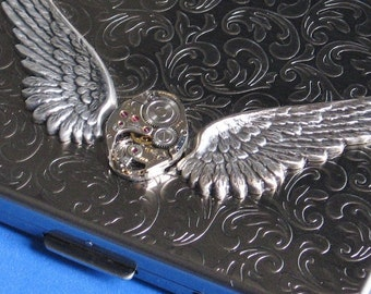 Cigarette Business Credit card case Metal Wallet Men Women gift Vintage jewelled watch piece Cosmic wings Exclusive