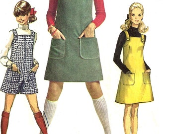 1960s Jumper Pattern Simplicity Vintage Sewing Mini Pantjumper Women's Misses Junior Size 11 / 12 Bust 32 Inches