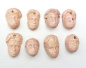 Eight Pink lady beads HM stoneware clay soft pink face ceramic charms small head pendants DIY sale