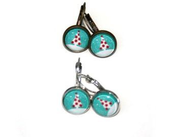Christmas Tree Earrings, Tree Illustration Dangle Earrings
