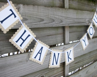 Wedding Thank You Banner in Navy and Tan | Wedding Thank You Sign and Photo Prop