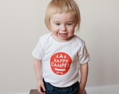 Baby Onesie, Happy Camper, Organic Baby Bodysuit, Organic Cotton, Screen printed, 3-6m, 6-12 mo, 12-18mo by Sweetpea and Co.