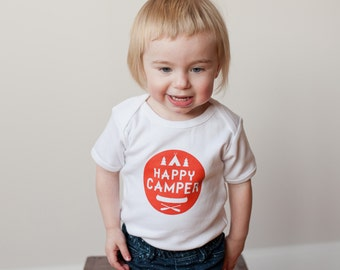 Happy Camper Short Sleeve White and Red Organic Baby Bodysuit