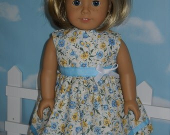 """White with Blue & Yellow Flowers American Girl 18"""" Doll Dress Handmade"""