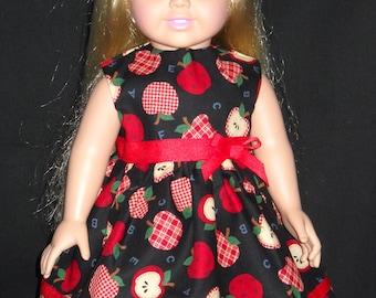 "Black with Apples American Girl 18"" Doll Dress Handmade"