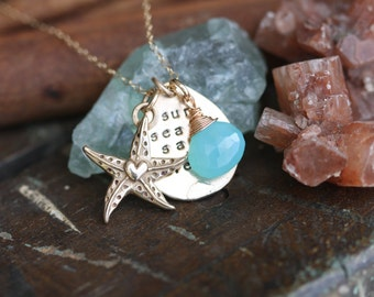 Exclusive Sun Sea Sand Serenity.....hand stamped Fine Bronze and gold filled Beach necklace.... ready to ship