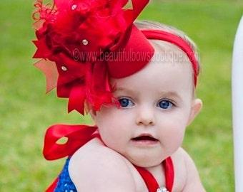 Red Over the Top HairBow,Red Baby Headband,Christmas Baby Headbands,Baby Headband,Big Red Bow,Girls Headband,Snow White Headband,Hair Bows
