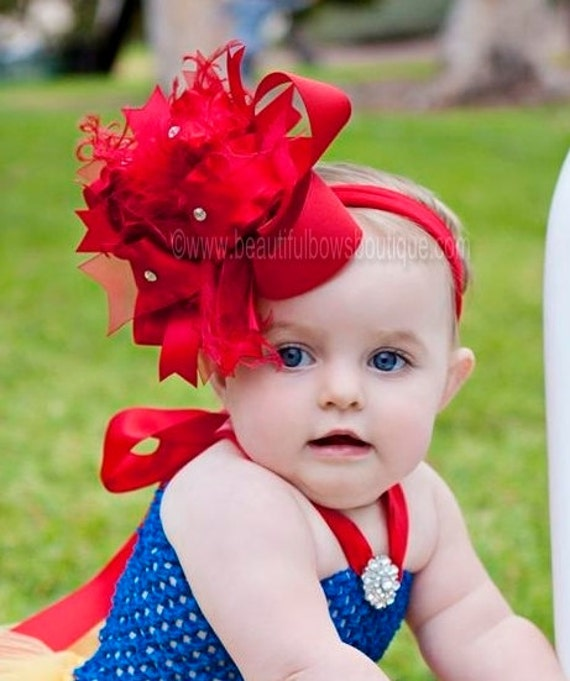 Solid Red Boutique Over The Top Hair Bow Baby Headband Snow