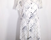 Vintage 80s Contrast Black & White Abstract Printed Dress / Size Large