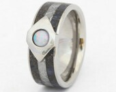 Opal and Dinosaur Bone Wedding Band for Him, Vintage Mens Ring, Handmade Dinosaur Bone Ring