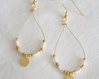 Pale Pink and Gold Dangle Loop Earrings