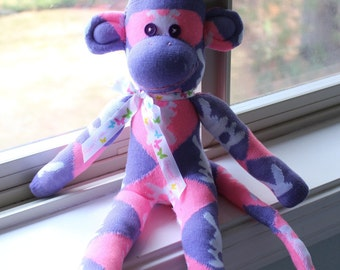 Easter Sock Monkey Doll Purple Lavender Pink Bunny design, Ready to Ship!