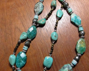 Turquoise Chrysocolla Necklace, Natural Stone Necklace, Tigers Eye, Amazonite