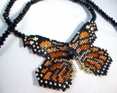 Monarch Butterfly - Beadwoven Necklace