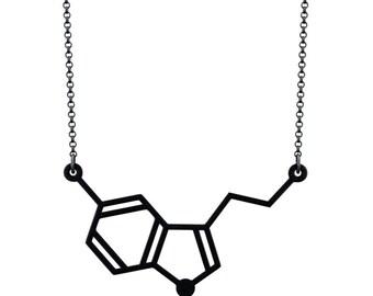 Horizontal Serotonin Molecule Necklace - Matte Black