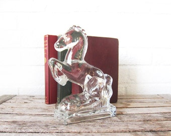 Vintage Glass Horse Bookend - Art Deco Style Rearing Horse - Mid Century Stallion Paperweight