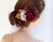 bridal hair accessories, aubergine wedding hairpiece, cranberry red flower, bridal hairpiece -ALCOTT floral headpiece, mauve pink, hair clip