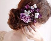 purple hair flower, bridal flower hair clip, floral hair comb, purple wedding, purple headpiece, prom hair, floral hair accessories