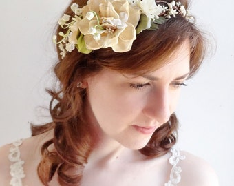 rustic wedding headpiece, flower crown, bridal hair piece, green and cream headband, floral crown, lily of the valley, woodland wedding