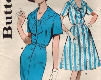 1960s Butterick 9665 Vintage Sewing Pattern Misses Step-In Dress, Sheath, Shirtwaist Dress Size 16 Bust 36