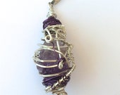 REDUCED****Wire Wrapped Amethyst Pendant