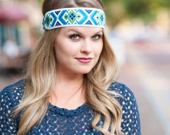 Headband Blue Green White Vintage Woven Jacquard Headband Women Teen Adult