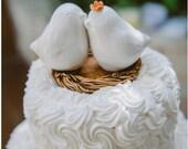 White Cuddling Love Bird Cake Topper