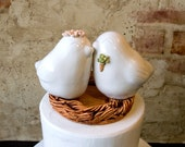 White Love Birds with Succulent Boutonniere