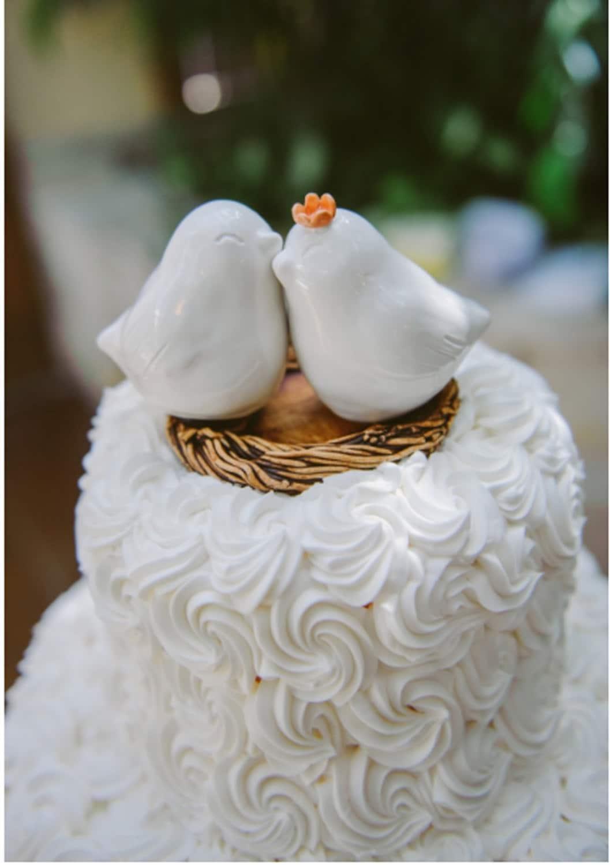 White Cuddling Love Bird Wedding Cake Topper