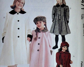 McCall's 8471 Sewing Pattern, Girls' Lined Coat And Hat In Two Sizes, Sizes 2-3-4, Uncut Factory Folded