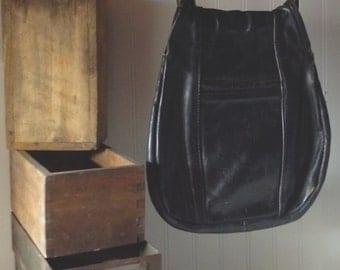 Vintage Boho Chic Leather Gypsy Shoulder Bag Black