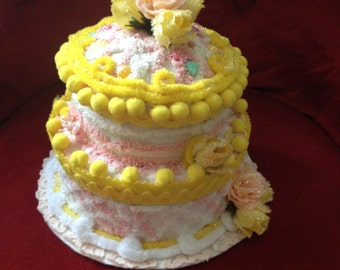Faux Fake Cake Box Centerpiece/ Birthday Gift/ Memento Box/Tea Party—2-layer cake box in yellow, white and pink