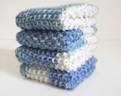 Knitted Dish Cloths / Blue White Cloths / Blue White Dish Rags / Hand Knit Cloths / Blue Denim Dish Cloths / under 10 gift