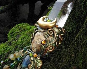 Magic Crystal Wand Angel Phantom Amphibole Quartz Jasper Labradorite Pagan Altar Reiki Wiccan Magick Art GIVER OF AWEN by Spinning Castle