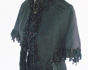 Antique Victorian 1880s Black Bustle Cape with Beaded Trim Large Extra Large