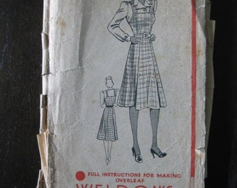 "Late 1930s / 1940s Pinafore Dress & Blouse - 34"" Bust - Weldons 146663 - Vintage Sewing Pattern - WW2 Wartime Home Front"