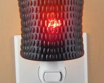 "Dark Ruby Red Glass Coffee Mug 3"" High  Custom Made Night Light  NO HANDLE"