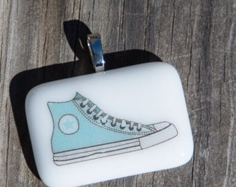 Fused Glass Pendant - Sneaker - blue