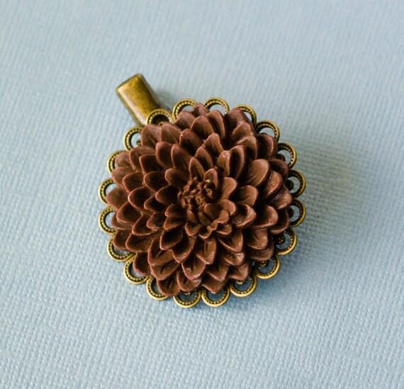 Antique Dahlia Flower Hair Clip, Chocolate, Pretty, spring, floral, hair, accessory, brooch, cheerful pastel, gifts, handmade in Santa Cruz