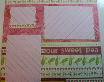 OUR SWEET PEA 12 x 12 premade scrapbook page - Baby Girl
