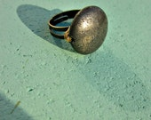 Adjustable Wire Wrapped Pyrite on Rustic Brass Ring: Mercury