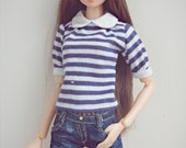 stripe top and denim shorts for momoko blythe doll