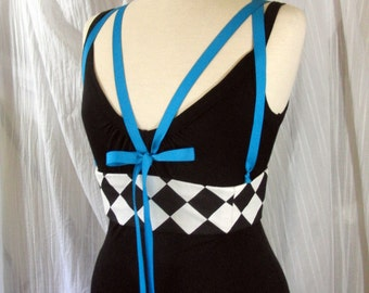 Harlequin Corset Harness Underbust Boned Waist Cincher in Black and White Any Size
