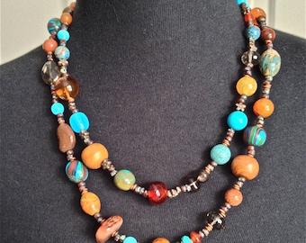 multi strand boho necklace, women jewelry necklace, handmade southwest necklace, boho beaded necklace - turquoise and amber necklace