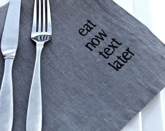 CHARCOAL Gray Manners Napkins Linen Dinner Napkins Set of 6 Napkins Eco Friendly Typography Embroidered Napkins Gift Ideas Vegan Friendly