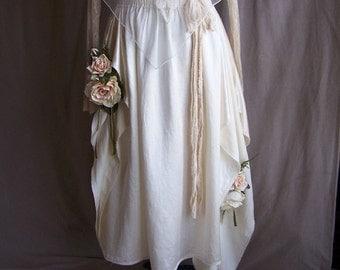 Eco Freindly Wedding or Casual Skirt, Fair Trade Silk and Hemp, Asymmetric Formal or Casual