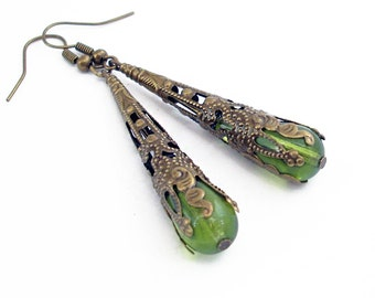 Pale Green Glass Drop Earrings Wrapped in Bronze Filigree