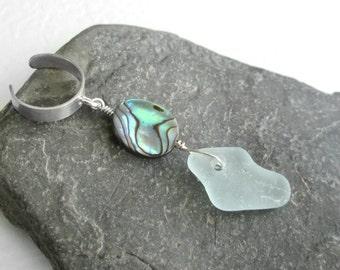 Green Sea Glass Earcuff, Abalone Shell Cartilage Cuff, Sterling Silver Ear Cuff, Beach Jewelry