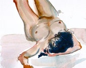 Original watercolor + gouache painting of Nude #1036 by Gretchen Kelly